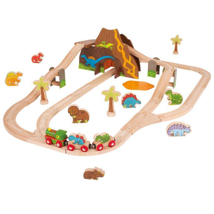 Giocattoli per bambini di 3 anni set trenino in legno dinosauri - Trenino di legno ikea ...